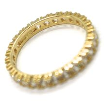 18K YELLOW GOLD ETERNITY BAND RING, WHITE CUBIC ZIRCONIA, THICKNESS 3 MM image 3