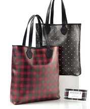 Woman's Faux Leather Tote Choice of Red Plaid or Black w White Dogs