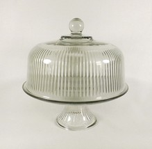 Vintage Anchor Hocking Ribbed 2 pc Glass Cake Stand or Reversible Punch ... - $23.96