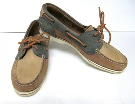 TIMBERLAND Boat Shoes Deck Dock Mocs Leather Lace-Up Tan Green Women's 7.5 M - $34.95