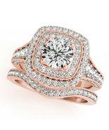 18K Rose Gold Finish Round Cut Diamond Engagement Ring Wedding Bridal Set - $96.14