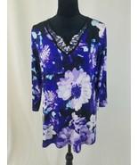 Susan Graver women L beaded embellished tunic 3/4 sleeve floral - $44.50