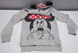 Disney Minnie Hood Sweatshirt Size Small/6/6x Ears Bow Gray Red Polka Dot - $15.75