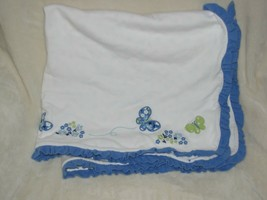 Vintage Gymboree Darling Butterfly 2011 White Blue Green Flower Blanket ... - $78.70