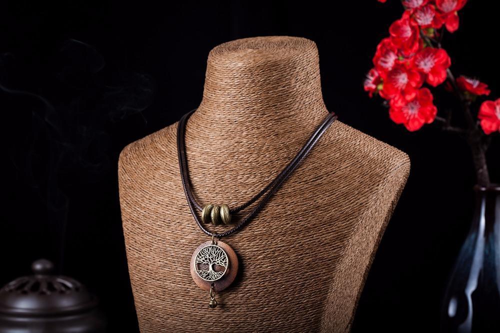 COOSTUFF Vintage Wooden Tree Of Life Handmade Necklace / Pendant - Ladies /Women