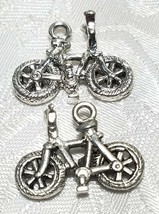 BIKE BICYCLE FINE PEWTER PENDANT CHARM - 23mm L x 17mm W x 9mm D