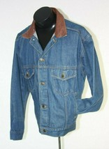 Marlboro Denim Trucker Jacket Blue Mens Medium Leather Collar Country Store - $19.75