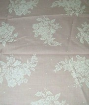 Vintage Pink Oxford CLoth Fabric Printed FLoral Cotton Blend 19 X 25 Inc... - $7.91