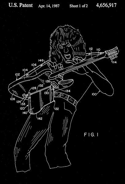 Primary image for 1987 - Musical Instrument Support - Guitar - E. L. Van Halen - Patent Art Poster