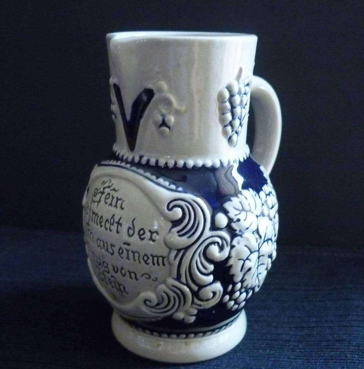 Vintage Stoneware Small Pitcher German Inscription Blue Gray