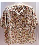 Floral Blouse Short Sleeve Size M Autumn Color Rust Yellow Brown Beige P... - $10.84