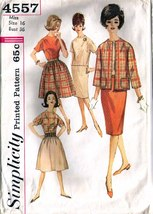 1960's Skirts-Jacket-Blouse Pattern 4557-s Size 16 - Complete - $9.99