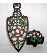 WILTON CAST IRON PAINTED MATCH HOLDER & TRIVIT SET - $35.00