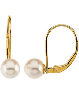 14K Yellow Gold 6mm Akoya Cultured Pearl Leverback Earrings - $179.99