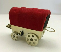 Vintage Red Pin Cushion Metal Wagon Built in Tape Measure Thimble Holder... - $14.50