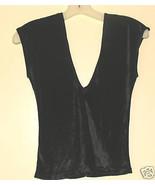 Ladies Vintage 70's Black Panne Velvet Top - size small - $10.95