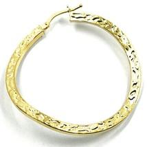 18K YELLOW GOLD CIRCLE HOOPS PENDANT EARRINGS, 4 cm x 2 mm WORKED & ONDULATE image 2