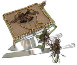Western Theme Burlap Guest Book With Pen and Cake Knife Set Wedding Anni... - $69.99