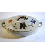 "Lipper Mann Iridescent Butterflies Lidded Dresser Box 5"" Gold Leaf And F... - $6.29"