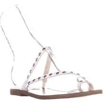 Steve Madden Daria Slip On Strappy Flat Sandals, White - $27.99