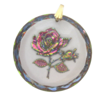 Vintage Rose Pendant molded clear glass reverse painted iridized pink green - $14.84
