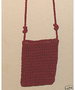 Ladies Vintage late 70's Crocheted Small Wine Evening Purse - $10.75