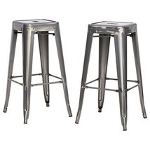 ModHaus Living ModHaus Set of 2 Gunmetal French Bistro Tolix Style Metal... - $122.08
