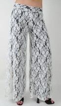 Elan Palazzo Pants Barcelona White Lace All Over, Fully Lined in Black, ... - $59.39