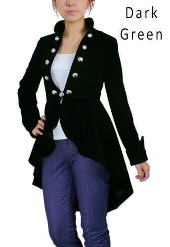 Plus Size Victorian Goth Velvet Jacket Spring Tail Coat Black Burgundy Drk Green
