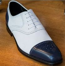 Brogues Toe White Blue Two Tone Stylish Men Premium Leather Lace Up Shoes - $139.99+
