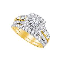 14kt Yellow Gold Princess Diamond Halo Bridal Wedding Engagement Ring Set 2 Ctw - $3,699.00