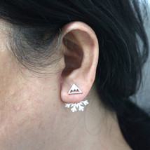Mountain Peak Snowflake Ear Jacket Stud Earring - $25.00