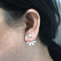 Mountain Peak Snowflake Ear Jacket Stud Earring - $25.00