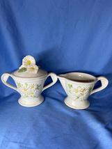 Metlox White Poppy Trail Sculptured Daisy Flower Sugar Bowl And Creamer Set - $29.99