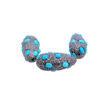 Genuine Turquoise Gemstone Bead Spacer Finding 925 Sterling Silver Diamo... - $828.79
