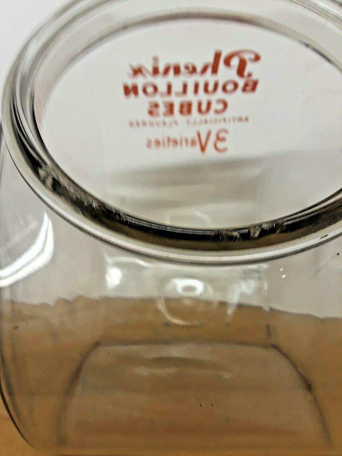 Vintage Phenix Bouillon Cubes Glass Countertop Jar Display Anchor Hocking USA