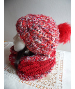 Slouchy beanie hat and Scarf Set, Women beanie, Knit hat Loop scarf Gift... - $49.00