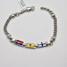 Bracelet en Argent 925 Rhodié avec Drapeaux Nautique Émaillés Fabriqué en Italy image 4