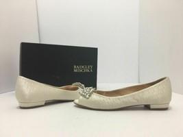 Badgley Mischka Taft Ivory Satin Women's Bridal Open Toe Flats Pumps Siz... - $58.88