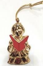 Child Choir Signer Caroler Christmas Ornament Gold Red Gloria Duchin 199... - $20.99