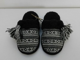 Deluxe by Dearfoams Women's Slippers Size Small US 5-6 Black and White NWT - $15.83