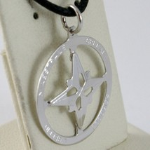 18K WHITE GOLD 19 MM WIND ROSE COMPASS CHARM PENDANT, STAR, MADE IN ITALY image 2