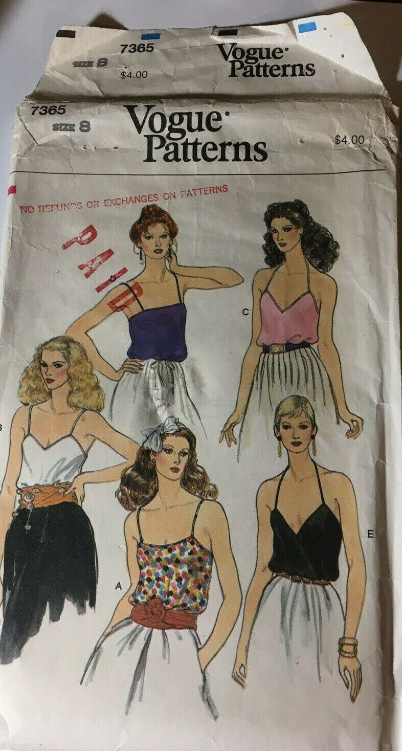 Primary image for Vogue 7365 Misses Top Size 8 Sewing Pattern Partially Cut Vintage 1980's
