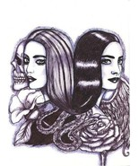 Twin sisters angel skull art print original goth drawing women black & w... - $9.99