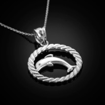 14K White Gold Jumping Dolphin in Circle Rope Pendant Necklace - $114.99+