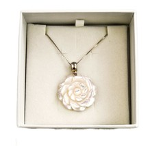 Vicenza Ladies Sterling Silver Necklace Mother of Pearl Rosette Design - $118.75
