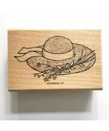 Stampin Up GARDEN BONNET Rubber Stamp Outdoor Straw Hat Flowers Card Craft Wood - $2.97