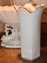"LENOX PORCELAIN VASE L MADE USA SCALLOPED RIM RIBBED GOLD GILT 8"" H x 4.... - $29.99"