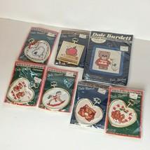 Dale Burdett Christmas 7 PC lot Counted Cross Stitch Kit 1987 NOS bears, lamb .. - $19.79