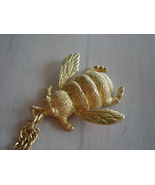 Bee Insect Figure Pendant Necklace, Goldtone, Chain - $19.99